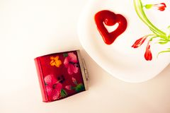 Valentine`s day, items on white or bright background. Showing part of the table stock images