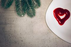 Valentine`s day, items on white or bright background. Showing part of the table royalty free stock photos