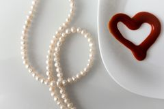 Valentine`s day, items on white or bright background. Showing part of the table royalty free stock photography