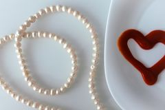 Valentine`s day, items on white or bright background. Showing part of the table stock photo
