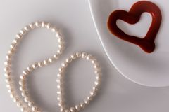 Valentine`s day, items on white or bright background. Showing part of the table stock photography