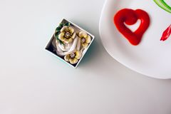 Valentine`s day, items on white or bright background. Showing part of the table royalty free stock image