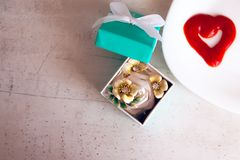Valentine`s day, items on white or bright background. Showing part of the table stock image