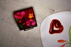 Valentine`s day, items on white or bright background. Showing part of the table royalty free stock images
