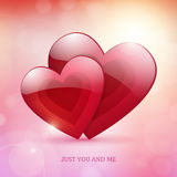 Valentine's Day just you and me bright poster. Card design. from background Royalty Free Illustration