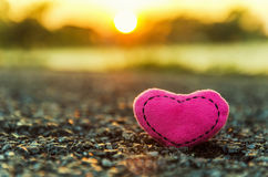 Valentine`s Day. knitted hearts. Pink heart and sunset Royalty Free Stock Image