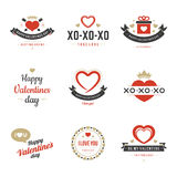 Valentine's Day labels, badges, heart icons vector Stock Images