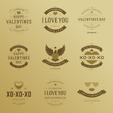 Valentine's Day labels, badges, heart icons vector Royalty Free Stock Images