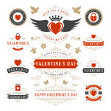 Valentine's Day Labels and Cards Set, Heart Icons Stock Images