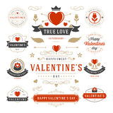 Valentine's Day Labels and Cards Set, Heart Icons Stock Image
