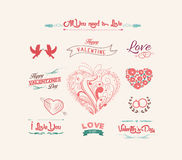Valentine's day labels, icons elements collection Stock Photography