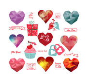 Valentine's day labels, icons geometrical elements collection Stock Photography