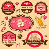 Valentine`s day labels Royalty Free Stock Photos