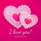 Valentine's day lacy hearts greeting card. Pink Valentine's day lacy hearts vector greeting card Royalty Free Stock Images