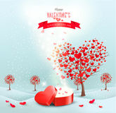 Valentine's day landscape with heart shaped trees Stock Photo
