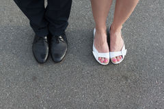 Valentine`s Day legs man and woman couple Stock Photography