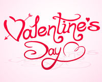 Valentine`s Day lettering with abstract hearts Stock Photos