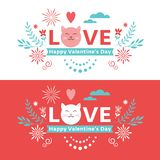 Valentine`s Day lettering banner royalty free stock photos