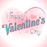 Valentine's Day Lettering Card. Happy Valentine's Day Lettering Greeting Card, Vector Illustration Stock Photos
