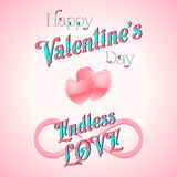 Valentine's Day Lettering Card. Happy Valentine's Day Lettering Greeting Card, Vector Illustration Royalty Free Stock Photos