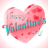 Valentine's Day Lettering Card. Happy Valentine's Day Lettering Greeting Card, Vector Illustration Royalty Free Stock Images