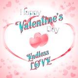 Valentine's Day Lettering Card. Happy Valentine's Day Lettering Greeting Card, Vector Illustration Stock Image