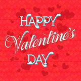 Valentine's Day Lettering Card. Happy Valentine's Day Lettering Greeting Card, Vector Illustration Stock Images