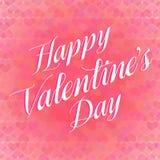 Valentine's Day Lettering Card. Happy Valentine's Day Lettering Greeting Card, Vector Illustration Stock Photo