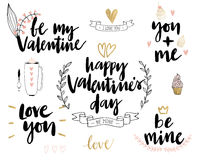 Valentine`s Day Lettering Design Set - hand drawn. Royalty Free Stock Photos