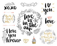 Valentine`s Day Lettering Design Set - hand drawn. Stock Photo