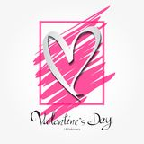 Valentine`s Day lettering on pink frame vector illustration banner template, greeting card, web icon. White heart shape, header, Lettering Valentine`s day Stock Images
