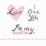 Valentine's day lettering. Vector Valentine's Day lettering, romantic handwritten greetings, handdrawn congratulations for Valentine day, Valentine's day Stock Photo