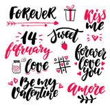 Valentine s Day lettering vector set.  handwriting calli Stock Photo