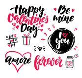 Valentine s Day lettering vector set.  handwriting calli Royalty Free Stock Image