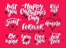 Valentine s Day lettering vector set. Isolated handwriting calligraphy love quotes and inscriptions. Stock Images