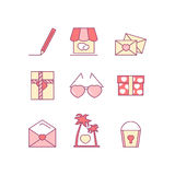 Valentine's day line icon set. Love, wedding romantic icons. Stock Photos