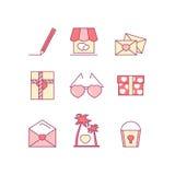 Valentine's day line icon set. Love, wedding romantic icons. Stock Photos