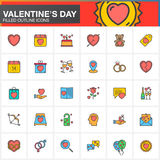 Valentine`s Day line icons set, filled outline vector symbol collection, linear colorful pictogram pack isolated on white. Stock Image