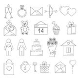 Valentine's day line icons. Useful for cards. Stock Photo