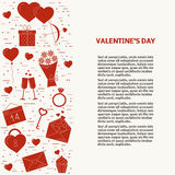 Valentine's day line icons. Useful for cards. Royalty Free Stock Image