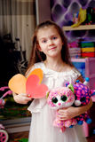Valentine`s day little girl hearts Stock Images