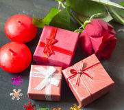 Valentine' s Day Little Presents and Roses Royalty Free Stock Image