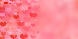Valentine`s Day living coral background with hearts. stock illustration