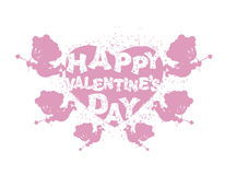 Valentine's day logo. Heart and Cupid. Many Cupids with bows.  Stock Photography