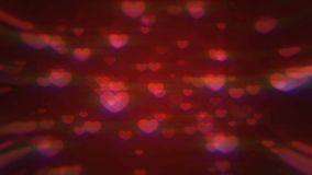 Valentine's day loopable abstract background, flying hearts stock video footage