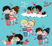 Valentine`s Day. Love card. Collection of couples in love. Royalty Free Stock Photography