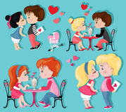 Valentine`s Day. Love card. Collection of couples in love. Stock Photos