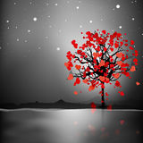 Valentine's Day love card or greeting card with love tree on nig Stock Photos