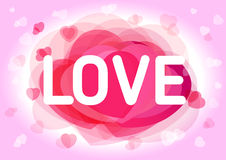 Valentine`s day love card. Happy Valentine's Day with text love and pink hearts on background Royalty Free Stock Image