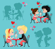 Valentine`s Day. Love card. Сollection of couples in love. Stock Photos
